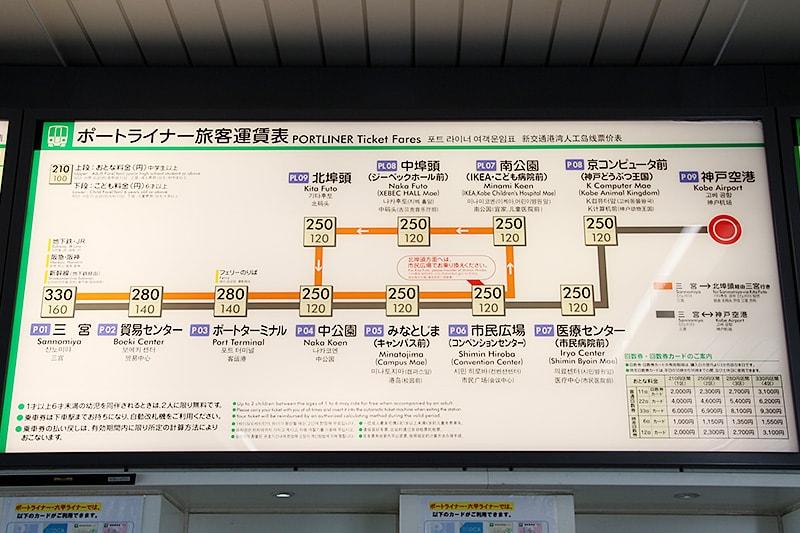 神戸空港のポートライナー路線図「神戸空港駅」